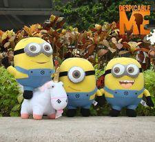 "4PCS Despicable Me Plush Toy Character 9"" Minions & Unicorn Stuffed Animal Doll"