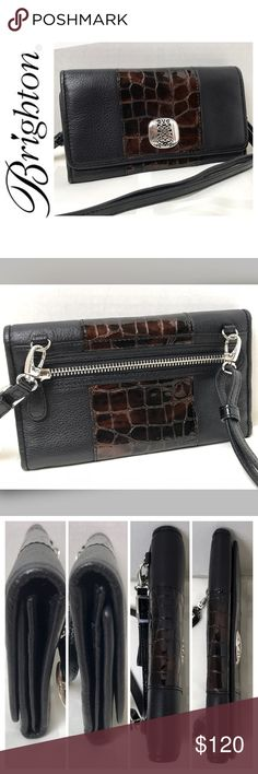 """NWOT Brighton Signature Crossbody Leather Wallet NWOT Brighton Signature Crossbody Wallet in Elegant Black Soft Pebble Grain Leather, Chocolate Crock Embossed Patent Leather and Silver Hardware, 1 Exterior Zip Pocket, 1 ID Card Slot, 10 Credit Card Slots, 5 Long Slip Pockets for Bills/Receipts, 1 Expandable Slot, 1 Interior Zip Pocket, 1 Interior Snap Closure for Interior Flap to Hide Credit Cards and Bills, 1 Exterior Snap Closure for Exterior Flap, Approx. Size is 7 1/2""""x 3 3/4"""" with an…"""