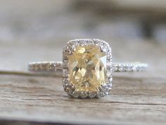 Radiant Cut Light Yellow Champagne Sapphire  Diamond Engagement Ring in 14K White Gold