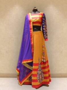 Mustard Silk Lehenga Choli with Handwork