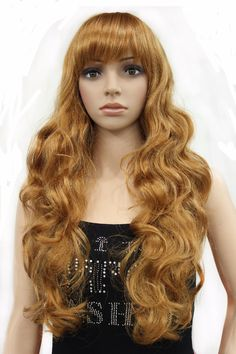 StrongBeauty Synthetic Wave Long Golden Women Wigs Full Capless Wig