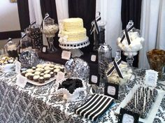 black and white candy tables | Dessert Table} Black and White Damask Bridal Shower |
