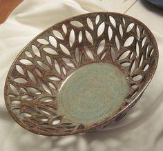 Leafy Bowl - Carved Pottery - HUGE - Centerpiece - Fresh Fruit Bowl - Handmade Pottery bu The Wheel and I - A Favorite LUCRETIA. $220.00, via Etsy.