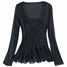 Black Renaissance Sequined Top - New Age & Spiritual Gifts at Pyramid Collection