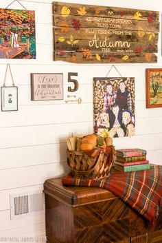 Planked Gallery Wall with DIY pallet sign and paint by numbers with fall decor…