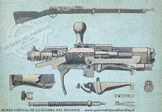 Fusil Kropatscheck de Marina  Modelo 1878. Primer fusil de repetición, sistema similar del Henrry & Winchester 1873. Tenía capacidad en el tubo para 9 balas,La patente fue registrada en Francia ya que a su inventor, un alto oficial del ejército austriaco, le fue negada. Es una modificación al sistema Grass 1874 Este modelo de fusil Kropatschek fue utilizado únicamente por la Marina de Guerra de Chile y en el año 1881 llegaron a unas 2.000 unidades. Winchester, Firearms, Civilization, Weapons, Guns, Tools, Tattoo, Crafts, Design