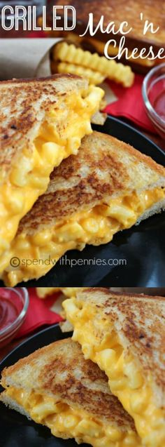 This Grilled Mac and Cheese Sandwich is an awesome sandwich combining two childhood favorites! Grilled Mac & Cheese makes an awesome lunch. Grilled Mac And Cheese, Mac Cheese, Macaroni Cheese, Cheddar Cheese, Grilled Cheeses, Grilled Cheese Recipes, Cooking Macaroni, Mac And Cheese Burger, I Love Food