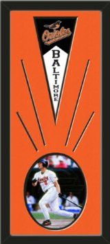Baltimore Orioles Wool Felt Mini Pennant & Cal Ripken Jr Photo - Framed With Team Color Double Matting In A Quality Black Frame-Awesome & Beautiful