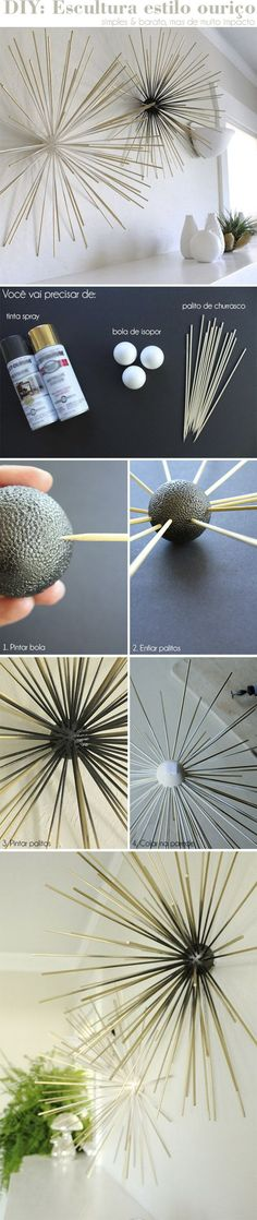 Great effect: ball and the half . Toller Effekt: Kugel und die Hälfte der Stäbe in ei… Interesting decoration object! Great effect: shape the ball and half of the bars in a different color. Diy Deco Rangement, Diy Wall Art, Wall Decor, Decoration St Valentin, Diy Bedroom Decor, Diy Home Decor, Craft Projects, Projects To Try, Diy Y Manualidades