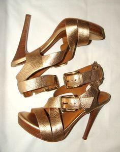 f72a1e0912c4 Michael Kors Brilliant Gold Pebble Leather Stiletto Platform Sandals! Sz 6  M!  fashion