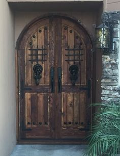 RUSTIC SOLID wood reclaimed Lumber double doors speakeasy wrought iron hardware & Rustic-reclaimed-lumber-kiln-dried-wood-stained-Arched-Door-Wine ...