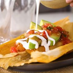 Learn how to make tamales with this recipe for delicious chicken tinga tamales with tomatoes and chipotles in adobo. Masa Recipes, Mexican Food Recipes, Cooking Recipes, Mexican Desserts, Freezer Recipes, Gourmet Desserts, Health Desserts, Plated Desserts, Chicken Tinga Recipe