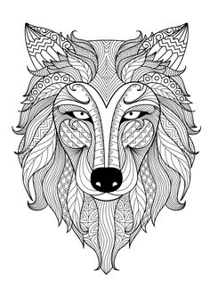 Incredible adult coloring page of a Wolf, by Bimdeedee (Source : 123rf), From the gallery : Animals, Artist : Bimdeedee