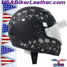DOT Full Face Skull Pile Motorcycle Helmet / SKU USA-RZ80SP-HI