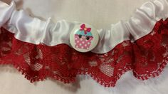 White Silky Ribon and Red Lace Garter - Cupcake Collection by HemHouse on Etsy