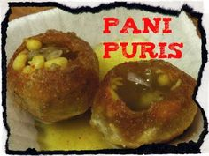 """Pani puris are known as """"Gol gappas"""" in North India and """"poochkas"""" in West Bengal. It is a very popular street food or chaat item in India. The crisp puris are stuffed with potatoes, moong sprouts/chickpeas and then filled with spicy masala water and served. This snack is loved by both youngsters and adults."""