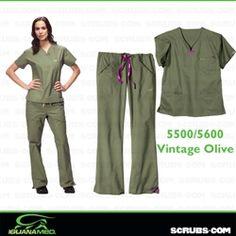 IguanaMed 5500/5600 - Quattro 3-Pocket Top Scrub Set (Women) - Vintage Olive at #Scrubs.com