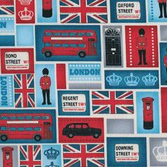 London Blocks by Makower. Beautiful pure cotton fabric with a repeating pattern of different blocks showing different London images; red Routemaster buses, black London taxis, crowns, red pillar boxes, the Union Jack, road signs, lamp posts, door of 10 Downing Street and Grenadier Guards in a repeating pattern using a colour palete of reds, blues, white and black.  Details: 100% cotton Width 112 cm £5.25 per half metre