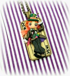 """Necklace with cameo """" mad hatter """" Alice in Wonderland, polymer clay"""
