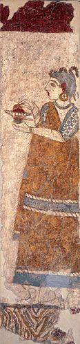 young Minoan child-priestess adding incense