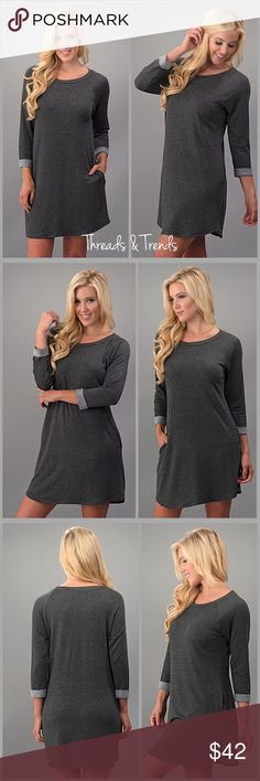 Charcoal Sweater Dress Everyday easy wear ...french terry sweater dress with hidden pockets. 3/4 length cuffed sleeves. Super soft and cozy. Made of poly/rayon and spandex blend. Pair with leggings, knees boots and a scarf. Size S, M, L Threads & Trends Dresses