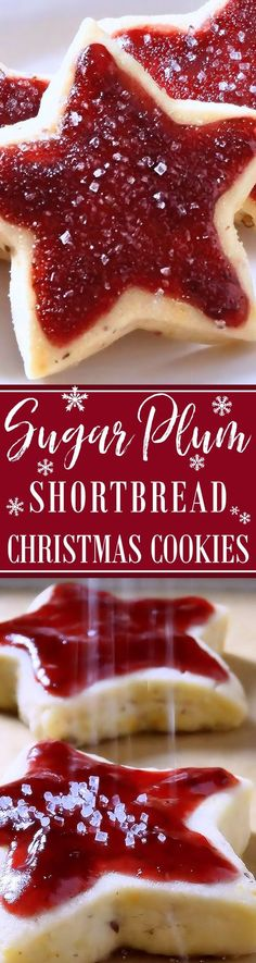 Sugar Plum Shortbread Christmas Cookies ~ Scrumptious old-fashioned buttery shortbread kissed with sunny orange zest, pecans and a whisper of spices topped with Sugar Plum Jam. They are like a jam-topped English scone turned into a shortbread cookie! Perfect for Christmas brunch or dessert. Everyone will love them! | sugarplum cookie recipe