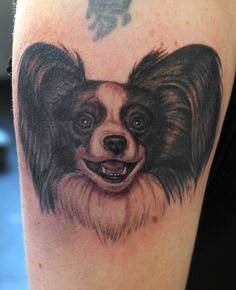 Black and grey dog portrait on an upper arm. Love tattooing supercute pets!