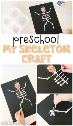 Preschool: My Body This skeleton craft is an adorable way to incorporate lots of fine motor skills practice and science learning. Great for tot school preschool or even kindergarten! The post Preschool: My Body appeared first on Halloween Crafts. Kids Crafts, Preschool Projects, Halloween Crafts For Kids, Toddler Crafts, Toddler Activities, Halloween Preschool Activities, Human Body Activities, Creative Crafts, Autumn Crafts Kids