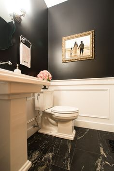 Traditional Powder Room with High ceiling, Pedestal sink, Wainscotting, Slate tile floors, Wall sconce Dining Room Wainscoting, Wainscoting Bathroom, Downstairs Bathroom, Small Bathroom, Painted Wainscoting, Wainscoting Styles, Bathroom Ideas, Wainscoting Height, Black Wainscoting