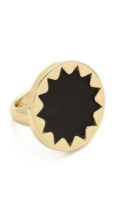 Designer Trends Boutique - House of Harlow 1960 Black Medium Sunburst Adjustable Ring