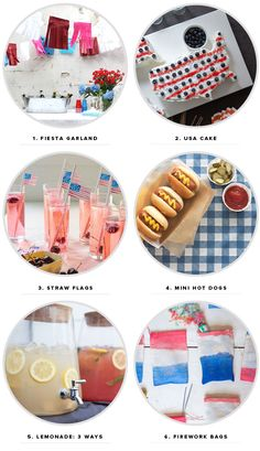 the garland and lemonade ideas are great for any party  4th of July Ideas