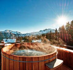 Hot tub in the cool winter air...in the alps! La Pogee Courchevel Hotel.