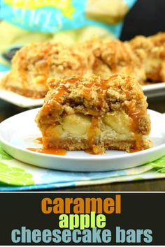 One bite of these Caramel Apple Cheesecake Bars will leave you wanting another! Cookie crust with creamy cheesecake filling, fresh apples, and a thick brown sugar streusel, all topped with a drizzle of decadent caramel sauce! #caramel #apple #cheesecakebar #dessert