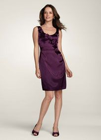 Stylish and chic, this slim charmeuse dress is the perfect pick for your bridal party. Sleeveless bodice features on trend origami detail for a touch of drama. Sleek charmeuse shapes a stunning silhouette. Fully lined. Back zip. Mob Dresses, Dresses For Sale, Dresses For Work, Blue Dresses, Davids Bridal Bridesmaid Dresses, Plum Bridesmaid, Wedding Bridesmaids, Bridesmaid Ideas, Bridal Dresses