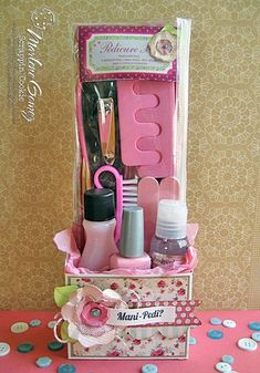 Mani/Pedi gift bags cute idea for a budget girls night before wedding.