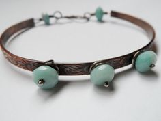 Amazonite Sterling Silver and Copper Bangle by EarthMagicAndRocks, $30.00