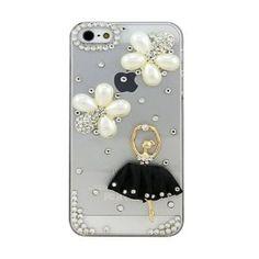 Super Luxury Designer Crystal Bling Animal Cartoon Pattern Hard Case Cover for Apple iPhone 4 4S (Black Skirt Girl)