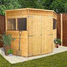 buy billyoh premium wooden tongue groove corner shed 7ft x 7ft at argosco