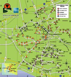 Stellenbosch Wine Route Map - Stellenbosch South Africa