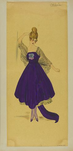 Summer 1916 Dark royal purple evening dress with train and full skirt, matching stockings and shoes, black lace underskirt and cape sleeves.  | Jeanne Paquin | V&A Search the Collections