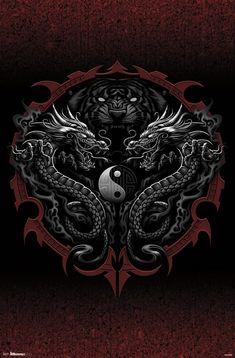 Tribal Dragon Tattoos, Dragon Tattoo Designs, Dragon Tattoo Drawing, Dragon Wallpaper Iphone, Yin Yang Art, Fantasy Posters, Eyes Artwork, Dragon Illustration, Beautiful Dark Art