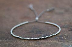 Delicate 14k solid White Gold beaded friendship bracelet