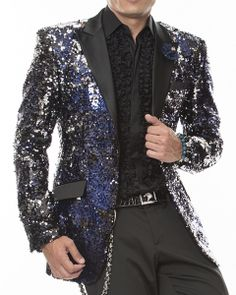 Men's Blazer and Sport Coat-Sequins Vegas Blue
