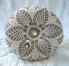 Vintage Doily and Wool Pincushion with Emery Ready to ship