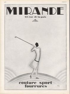 Mirande, 1927, woman golfer - chic on the course