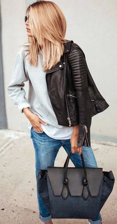 fall  outfits women s black leather jacket, tote bag and white long sleeve  shirt 663cbc7c2a9