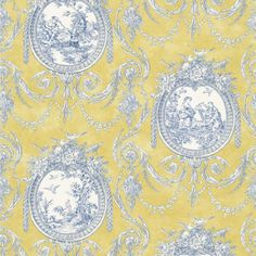 The Wallpaper Company 56 sq. ft. Yellow Vignette Toile Wallpaper-WC1280401 at The Home Depot