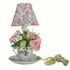 Grandma's Handmade Pink Pearl Teacup Lamp
