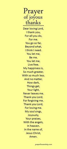 Prayer of joyous thanks