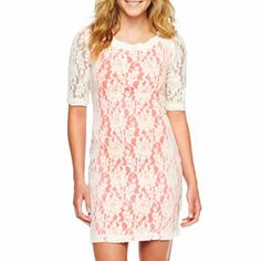 Lace Overlay Sheath Dress. I'm a sucker for lace. And this looks so cute and feminine.